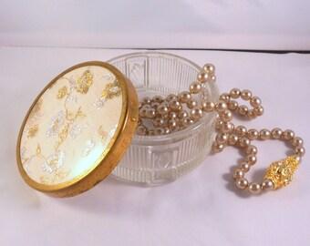 Vintage Vanity Jar, Powder Jar, Cold Cream Jar, Jewelry Storage, Trinket Box, Pressed Glass Art Deco Style