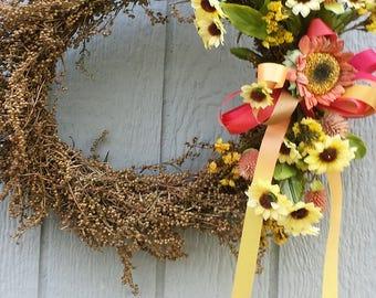 Sunflower Wreath, Summer Wreath, Dried Wreath, Rustic Wreath, Grapevine Wreath, Floral Wreath, Front Door Wreath,Floral Décor