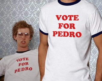 Vote for Pedro Ringer T-shirt Napoleon Dynamite Cosplay Costume T-shirt