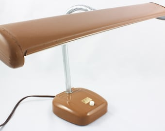 Mid Century Gooseneck Fluorescent Office Desk Lamp, Brown, Metal, Cosmo 4001-1