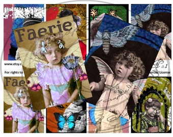 Instant Download Digital Collage,ACEO, Altered Art, Victorian, Artist Trading Cards, Ephemera, Children, Faries, Vintage
