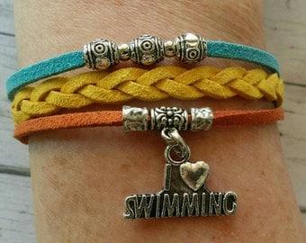 Custom Girl's Sports Bracelet//Teen Swimming Friendship Bracelet// Braided Suede// Choose Sports Team or Favorite Color Cords & Sports Charm