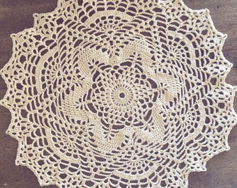 "Cream crochet doily, 10.5"" lace doily design, symmetrical crochet home decor, 10-1/2 inch round mandala, ivory crochet decoration, 10in"