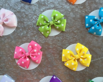 Polka Dot Boutique Bows on clips or FOE, 15 colors, toddler hairbow, baby hairbow