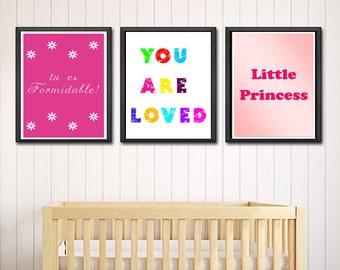 Girl Print Set Download, Nursery Girly Wall Art Posters, New Baby Girl Room Decor Set, Little Girl Instant Poster, Pink Nursery Art Download