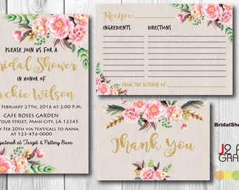 Golden Rustic Floral Bridal Shower Invitation Printable, Wedding Shower Invitations Printable, Flower Party Invites, Recipe, Thank You Card