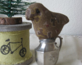 Sweet Pincushion Make-Do; Little Bird On Old Silver Plate Shaker