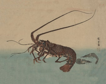 Ise ebi to shiba ebi - Lobster Shrimp Prawn Japanese Wall Art - Wall Art from Wood Cut Digital File - Japan