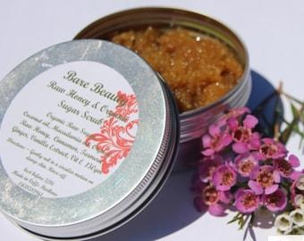 150gm Raw Honey & Sugar Body Scrub with coconut oil, cinnamon and vitamin E