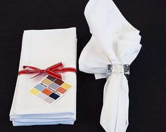White Cotton Napkins Set of Four, 18 x 18 White Napkins with Mitered Corners