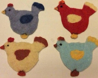 A Needle Felted Chicken Coaster (Choice of Colours Available)