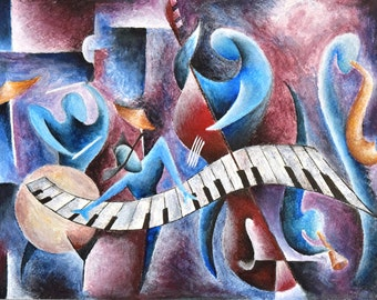 Jazz Quintet Cubism Print Acrylic Painting Music Art Illustration Abstract Musician Piano Colorful