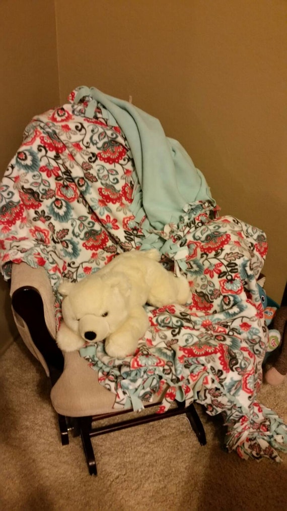 Floral Fleece Blanket Floral Blanket Tie By Tiethisblankets