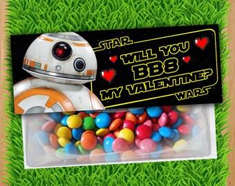 BB8 Valentine Bag Topper - INSTANT DOWNLOAD - Printable Star Wars Valentine Bag Topper, BB-8 Valentine's Kid Kids Download