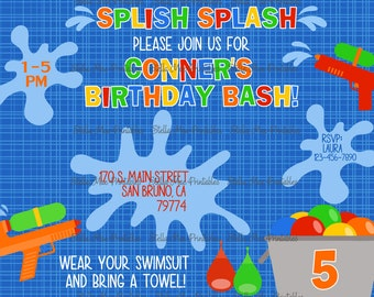 Splash Party Boy, water balloon, water guns, pool party - printable or printed invitation