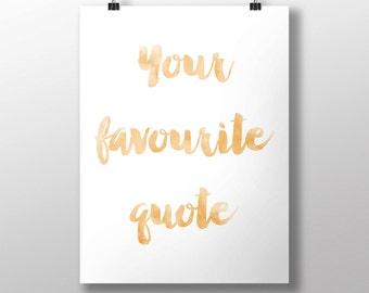 Watercolor Custom Quote Print, Custom Printable Art, Custom Quote, Custom Typography Print, Personalized Quote, Customisable Decor