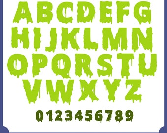 Scary FONT, alphabet, halloween, Files For Use With Your cut software, Pdf, Dfx, Png, Eps, Svg Fonts, Monogram Font, Instant Download 046
