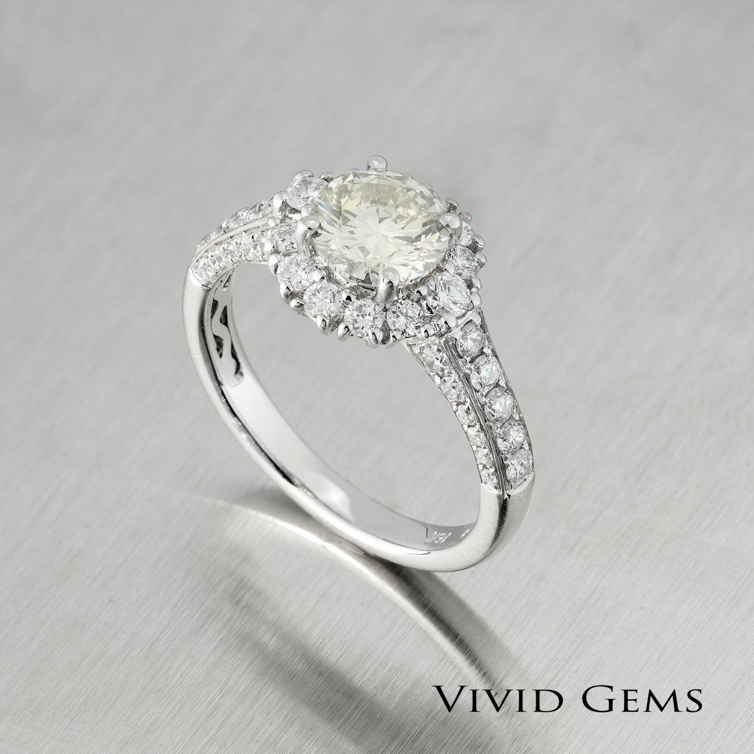 Engagement Rings Netherlands: Light Champagne Diamond Engagement Ring 1.92 By