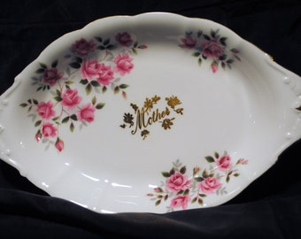 Vintage Mother's Day Floral Pattern with Gold Trim Butter Dish