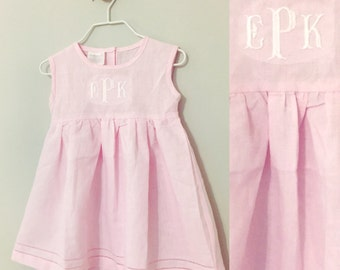 Linen Monogrammed Dress - Girls