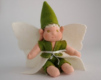 Winter Fairy doll, gift for fairy lover,pixie doll, flower fairy, ooak doll, woodland elf, cloth doll, handmade doll, felt doll