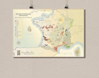 France Wine Region Map Vintage Wine Poster Retro Food Drinks   Decor France Map Kitchen Decor Wine Art  bp
