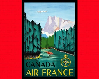 Printed on textured bamboo Art paper - Canada Travel Print Canadian Travel Poster Canada Poster Travel  Canadian Travel  Air France  bp