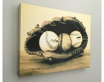Vintage Baseball In A Glove Photography Photo Print Boy Room Decor Idea
