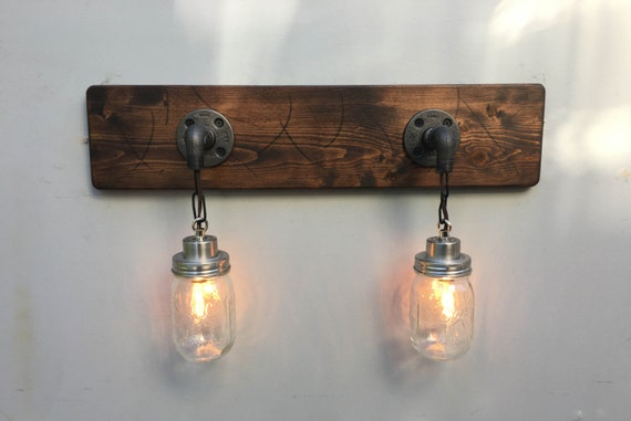 Country Style Vanity Lights : Vanity Light Fixture 2 Country-Style Mason Jar Light Pendant
