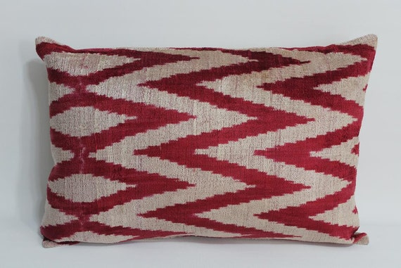 Red Chevron Velvet Ikat Pillow Cover - 14.5'' x 22'' Ikat Pillows Decorative Pillow  Zigzag Pillow Red Chevron Couch Pillows Sofa  Pillows