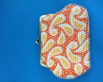 Paisley 60's Coin Purse/Retro Change Purse/Orange & yellow Paisley/vintage coin purse/orange change purse/retro gift /beaded change purse