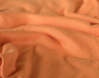 1yd x 54'' Apricot Orange Medium Weight Rib Ribbing Jersey Fashion Fabric / Cotton