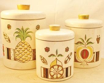 Set of 3 kitchen vintage/retro Ransburg  tin cans