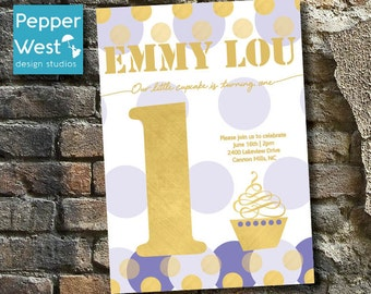 Cupcake Gold First Birthday Invitation / Purple / Polka Dots / Shimmer / Foil / Digital / Printable Invite
