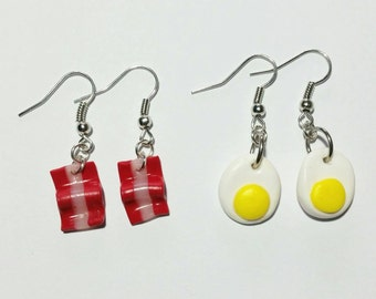Handmade Egg & Bacon Earrings // Polymer Clay