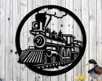 Locomotive Train Steam Engine Metal Wall Art - Steel Wall Art