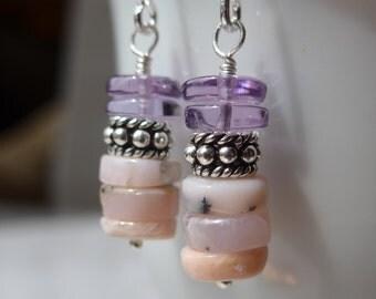 Opal Earrings, Pink Opal Earrings, Peruvian Opal Earrings, Amethyst Earrings, Gemstone Earrings, Pink Earrings