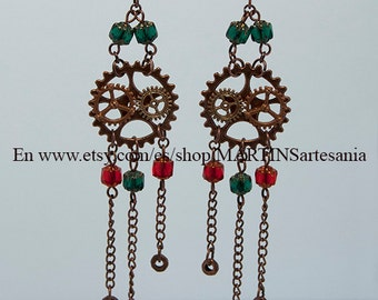 Steampunk copper earrings