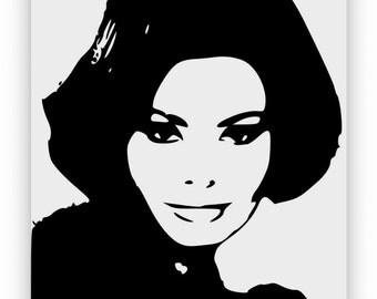 Sofia Loren, body of art, hand engraved, sandblasted and coloured spray.