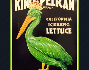 Crate Label for King Pelican Brand Iceburg Lettuce from Clarksburg, California