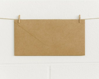 Envelopes 10pk, DLE 225 x 114mm, Natural Kraft