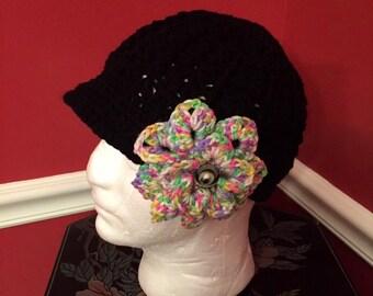 Black Newsboy Hat w/ Lg Speckled Croc Flower