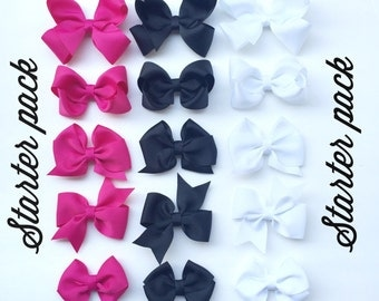 5 bow starter pack// hair bows// hair clips// infant headband// toddler bow// bows for girls// hair clip set