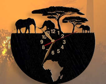 BLACK Wall clock, Africa, Elephant, Wild Nature Wooden Clock 12inch(30cm), Modern, Wall Art Decor, Animals, Travel, Traveling, Black clock