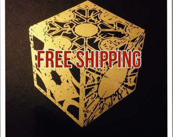 """Gold Lament Configuration Vinyl Decal sized 6""""high by 5 1/2"""" wide - Hellraiser Puzzle Box Decal - free shipping in the U.S."""