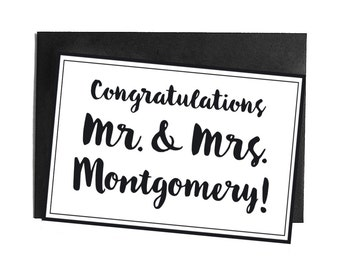 Personalised Congratulations / Card Mr & Mrs, personal message with names and note