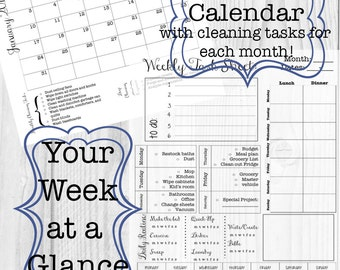 Editable Week at a Glance Task Sheet and Monthly calendar--includes cleaning tasks and meal planning