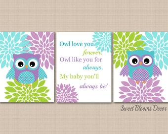 Owl Decor,Teal Purple Nursery Wall Art,Owl Nursery Wall Art,Lavender Teal Nursery,Purple Owl Nursery Wall Art,Owl Love You UNFRAMED 3-C237