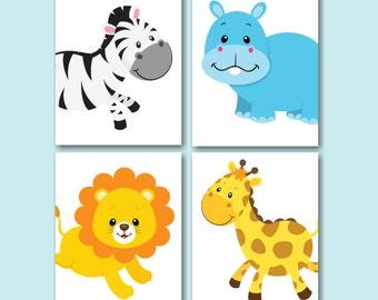 Safari Nursery Wall Art,Jungle Animals Nursery Wall Art,Zoo Animals Nursery Wall Art,Safari Nursery Decor,Animals Bathroom-UNFRAMED  4 C264