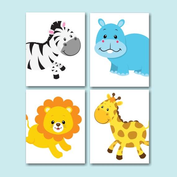Safari nursery wall artjungle animals nursery wall artzoo for Zoo bathroom decor